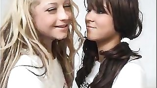 Towheaded Teen Fucks A Brunette Schoolgirl With Strapon